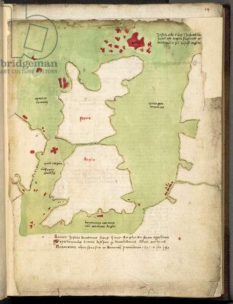 "A map Britain and part of Ireland, ""Claud, Ptolemaei Geographia, 8 libris, A Jacobo Anglo traducta et Alex,  V,  Pont,  Max,  dedicata, cum tabulis geographicis, Codex chartaceus,  XV, c.1450 (vellum)"