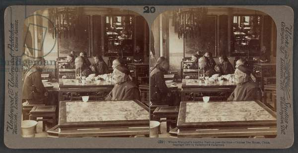 Where Shanghai's wealthy natives pass the time, Chinese tea house, China, c.1900 (stereoscopic photo)