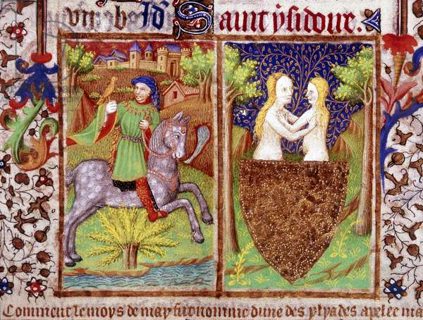 "Le mois de mai : Detail d'une page enluminee representant un homme a cheval chassant avec un faucon. A droite, le signe des Gemeaux. Miniature tiree de """"The Bedford Book of Hours"""" (Livre d'heures de Bedford) realise a l'occasion du mariage de Jean, Duc de Bedford et frere du roi Henry V en 1423, Paris. The British Library, Institution Reference: Shelfmark ID: Add.18850. Folio No: 5. [detail] Man riding a horse, hunting with a hawk, 1423. And a naked couple embracing behind a shield. From """"The Bedford Hours""""."