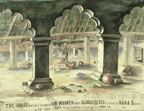 House in which the women were slaughtered by order of Nana Sahib, 16th July 1857