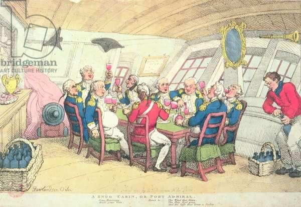 A Snug Cabin or Port Admiral (colour engraving)