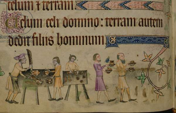 Add 42130 f.207v Margin illumination showing cooking, East Anglia, from the Luttrell Psalter, begun prior to 1340 for Sir Geoffrey Luttrell (vellum)