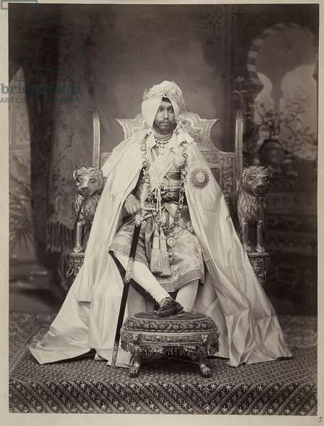 Sir Rajendra Singh, Maharaja of Patiala, 1898 (b/w photo)