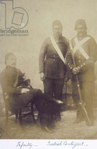 Portrait of three infantry soldiers, from 'Photographs from the Crimean War', c.1855-56 (b/w photo)