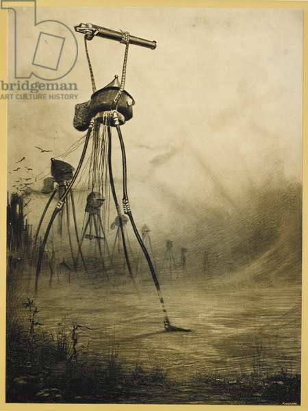 Martian tripods advancing in a line. Illustration from 'war of the worlds'.