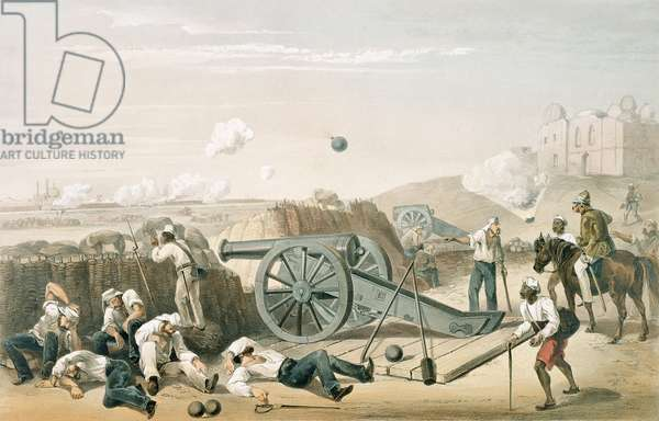 1781c8.Pl.15 Heavy Day in the Batteries, from 'The Campaign in India, 1857-8', engraved by Jonathan Needham (fl.1850-74) 1859 (litho)