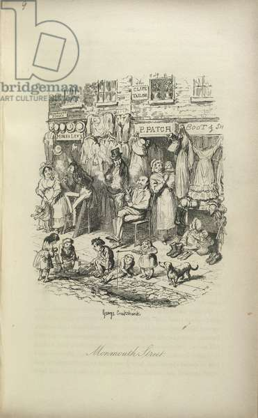Monmouth Street. People selling their wares; children playing