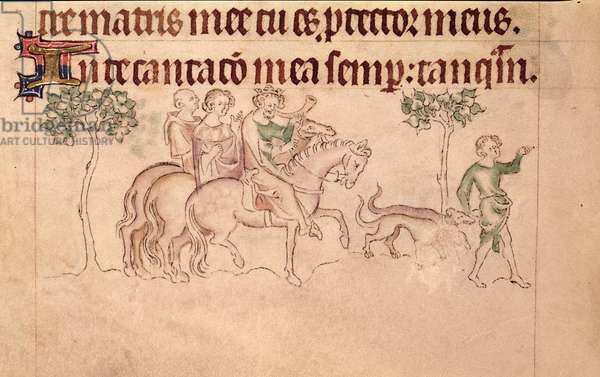 Roy 2 B VII f.172 William the Conqueror hunting, from the Queen Mary Psalter, c.1310-20