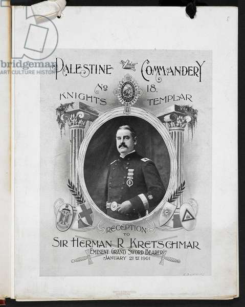 Front cover for a menu booklet for an event held by the Palestine company no.18, knights Templar, a reception to Sr Herman R. Kretschmar, Eminent Grand Sword Bearer, January 21st 1901.