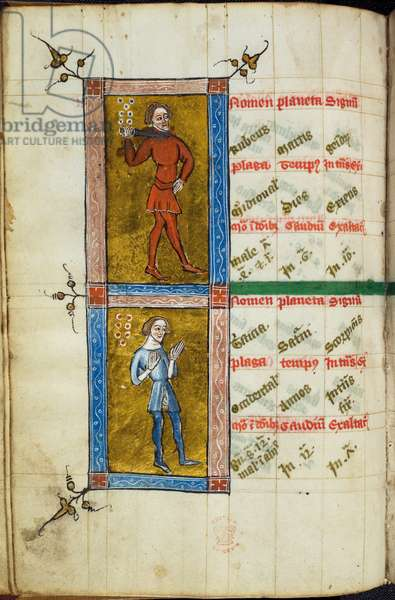 Miniatures of two figures (Rubeus (Red) and Tristicia (Sadness)) in two compartments, relating to the accompanying astrological tables