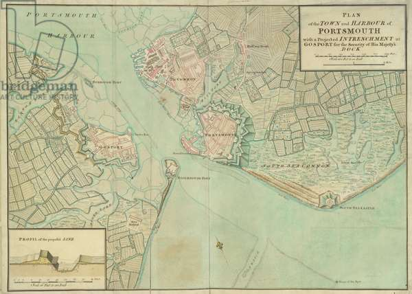 A plan of the town and harbour of Portsmouth, 1757 (pen & ink with w/c on paper)