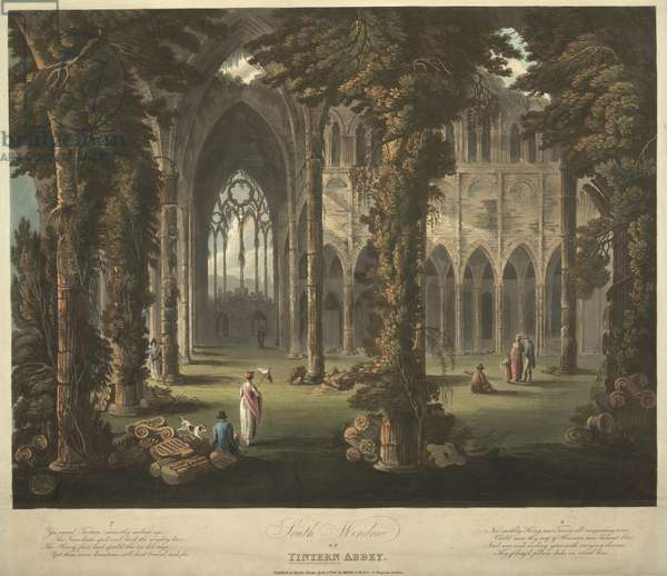 Figures standing in a ruined abbey; broken columns and fallen Ionic capitals on the floor; ivy and foliage growing throughout the building