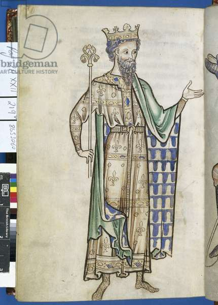 Royal 2 A. XXII, f.219v Drawing of a king holding a sceptre, illustration from 'Westminster Palace', c.1250 (vellum)