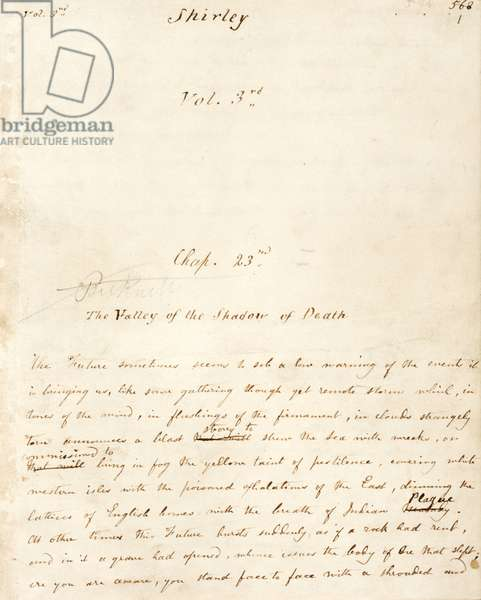 """Page du Volume 3 du manuscrit de """"""""Shirley"""""""", ecrit par Charlotte Bronte (1816-1855) vers 1849. Chapitre intitule """"""""The Valley of the Shadow of Death"""""""" ecrit apres avoir perdu son frere et ses soeurs debutant par une phrase poignante : """"""""The future sometimes seems to sob a low warning of the events it is bringing us, like some gathering though yet remote storm, which, in tones of the wind, in flushings of the firmament, in clouds strangely torn, announces a blast strong to strew the sea with wrecks"""""""" The British Library Institution Reference: Shelfmark ID: Add 43479 Folio No: 1 ©The British Library Board/Leemage"""