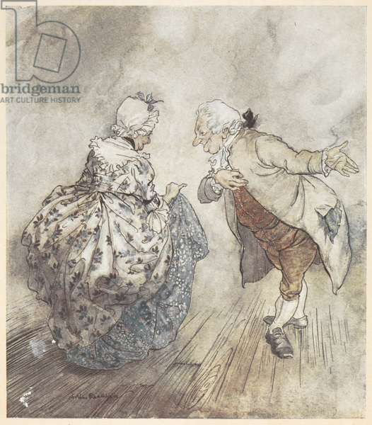 An old couple in formal clothing about to dance
