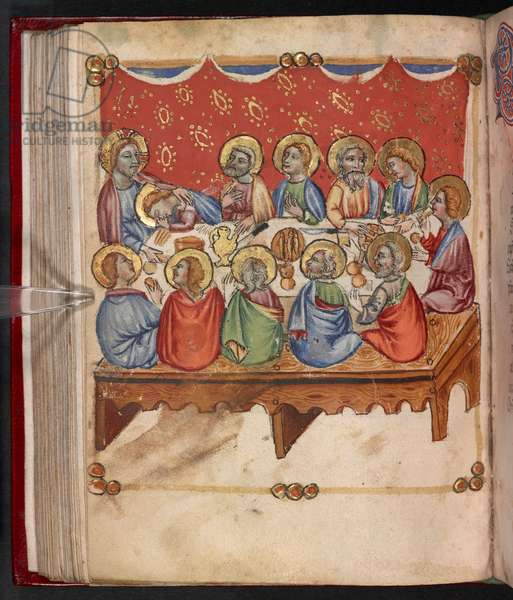 Add. 17466, f.107v The Last Supper, 1412 (vellum)