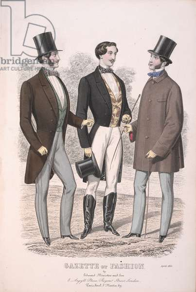 Three men, one wearing riding clothes.