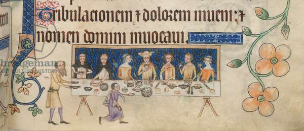 Add 42130 f.208 Sir Geoffrey Luttrell dining with his family, from the 'Luttrell Psalter', c.1325-35 (vellum)
