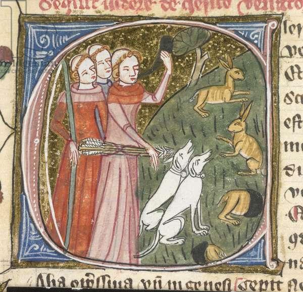Royal 6 E. VI, f.303v Clerics hunting rabbits, illustration from 'Omne Bonum', 1360-75 (vellum)