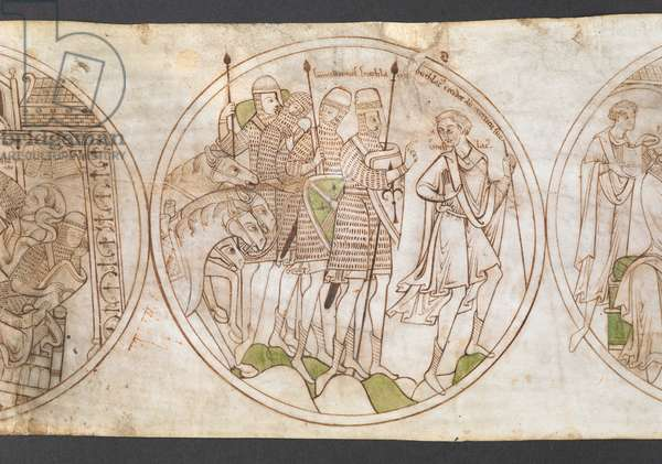 Harley Roll Y 6,  Roundel 2, Roundel of St Guthlac leaving military service, with the inscription 'Guthlac[us] recedit ab exercitu suo', and inscriptions 'Guthlac[us]', and 'commilitones Guthlaci' labelling the figures in the scene.from the 'Life of Guthlac' (the 'Guthlac Roll', or Vita Sancti Guthlaci) 1175-1215