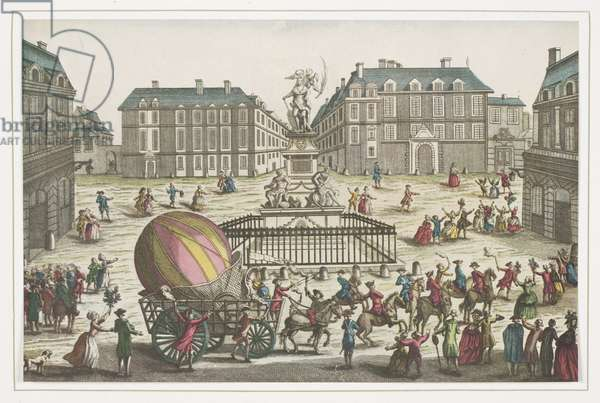 Return of the Charles and Robert Balloon, 1st December 1783 (coloured engraving)