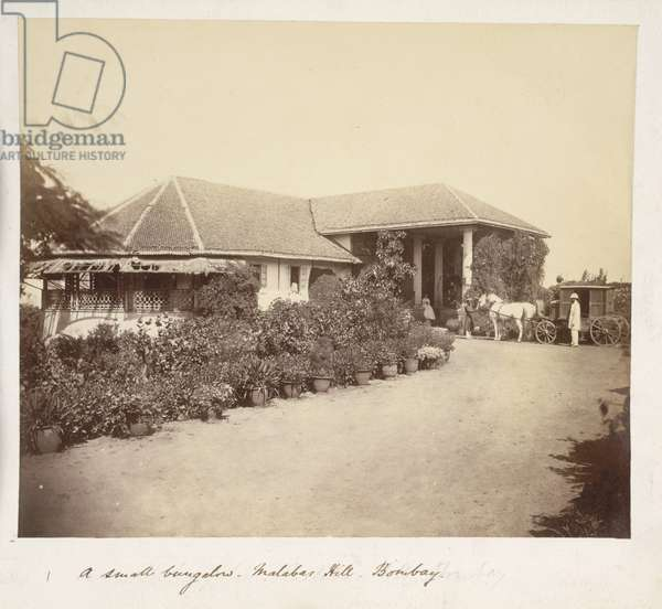 A small bungalow, Malabar Hill, Bombay, 1860 (b/w photo)