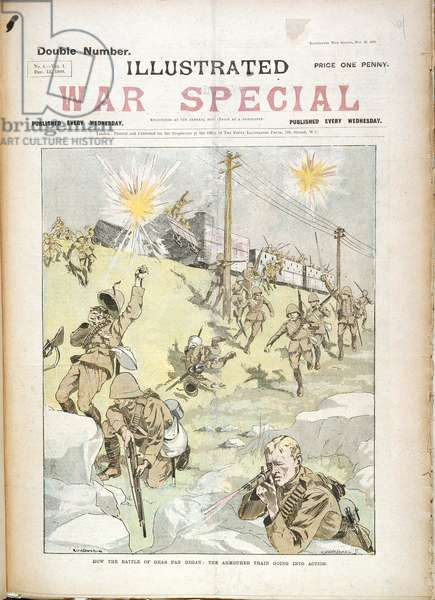 'How the Battle of Gras-Pan began: The armoured train going into action', from Illustrated War Special, 13th December 1899 (colour litho)