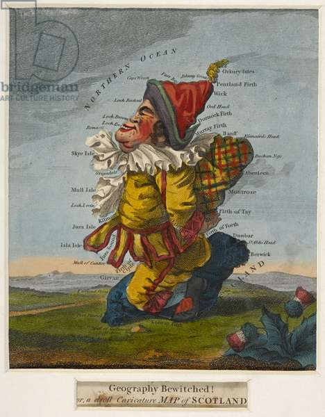 Geography Bewitched ! or, a droll Caricature Map of Scotland. [ca. 1795]