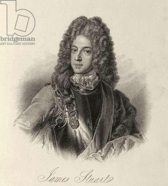 """Prince James Francis Edward Stuart (Jacques Francois Edouard Stuart 1688-1766) dit le chevalier de Saint George et le """"""""Old Pretender"""""""" (Vieux Pretendant). Il fut prince de Galles de 1688 a 1689. Fils du roi Jacques II d'Angleterre et d'Irlande et VII d'Ecosse et de sa 2e epouse, la princesse Marie de Modene. Heritier a la mort de son pere des droits des Stuarts aux trones d'Angleterre, d'Ecosse et d'Irlande, il fut proclame roi """"""""Jacques III d'Angleterre et d'Irlande et VIII d'Ecosse"""""""" le 16 septembre 1701. Mais il n'a jamais reussi a regner effectivement. Gravure tiree de """"""""Lives of Eminent and Illustrious Englishmen, from Alfred the Great to the Latest Times"""""""", Vol 4., 1834-37. ©The British Library Board/Leemage"""