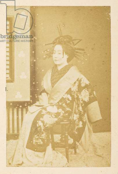 O'Wacka San [Portraits of Japanese women],  Photographer: UnknownLucas Collection: Photographic record of the world tour of Charles James and Morton P,  Lucas, 1877-79,  Dimensions: 85 mm x 54 mm
