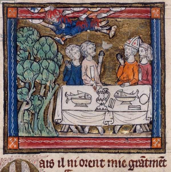 Royal 14 E. III, f.76v Seven hands cast fire upon Moys, illustration from 'L'Estoire del Saint Graal' (vellum)