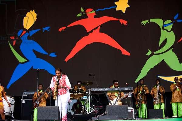Femi Kuti's dancers at the Glastonbury Festival June 2010