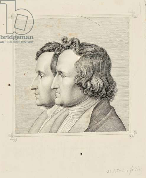 Portrait of the Brothers Grimm (Jacob and Wilhelm), 1843 (etching with framing lines in graphite)