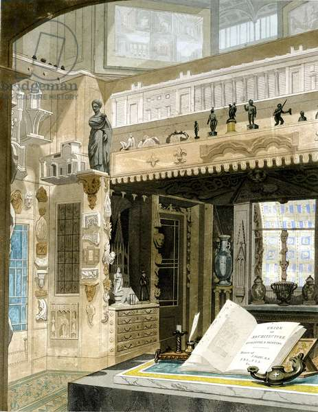 Monks Room and Gallery, Sir John Soane Museum, 1826 (hand coloured aquatint)
