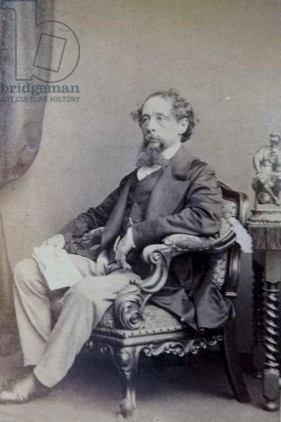 Charles Dickens, late 1850s (b/w photo)