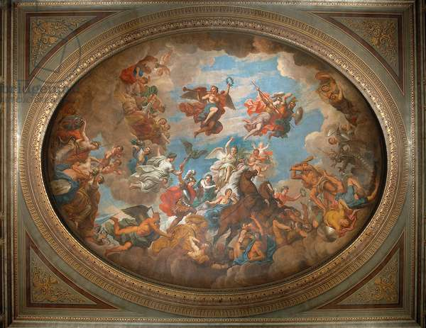 The ceiling of the Saloon, Blenheim Palace, Oxfordshire (photo)