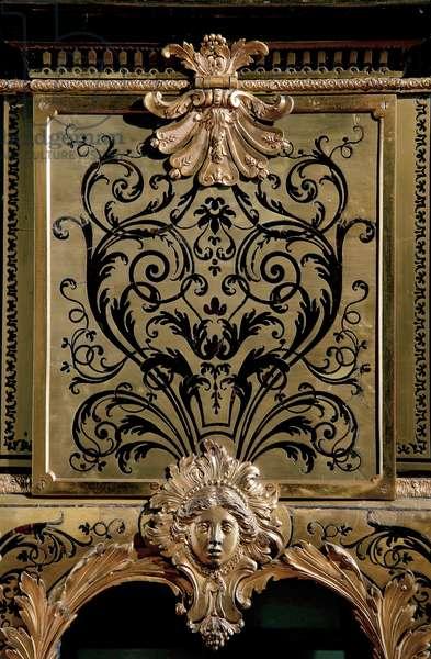 Detail of a Louis XIV Boulle coffer, c.1685 (brass & tortoiseshell)