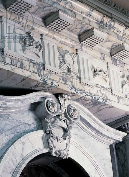 Part of Hawksmoor's marble door case in the Long Library, Blenheim Palace, Oxfordshire (photo)