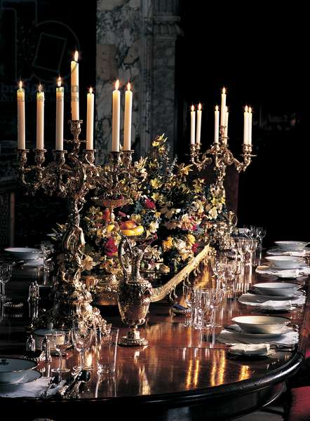 The table in the Saloon, Blenheim Palace, Oxfordshire (photo)