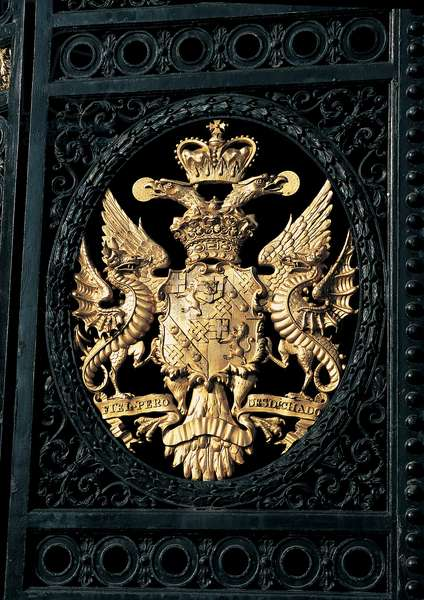 The family armorial bearing, from the East Gate at Blenheim Palace (photo)
