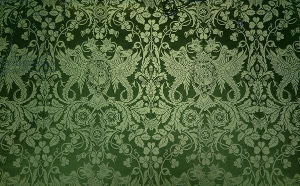 The silk damask wallcovering in the Green Writing Room at Blenheim Palace (photo)