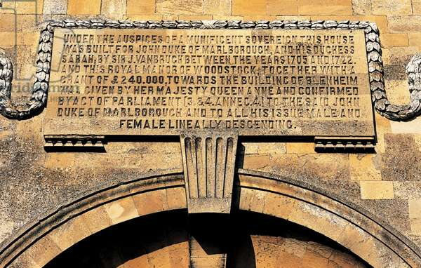 The inscription over the East Gate of Blenheim Palace (photo)
