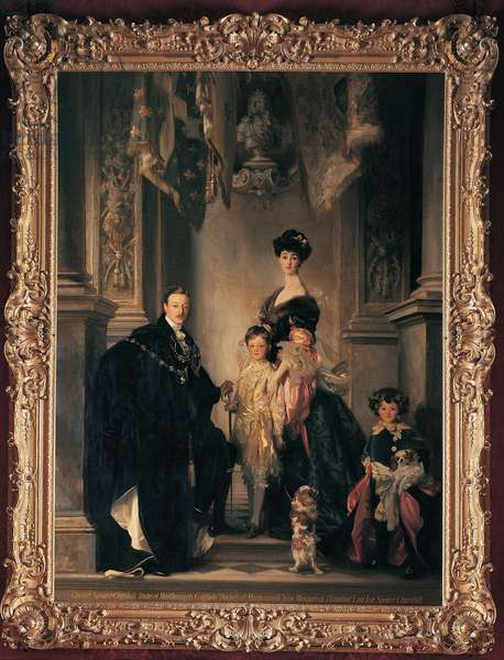 The 9th Duke and Duchess of Marlborough and their two sons, 1905 (oil on canvas)