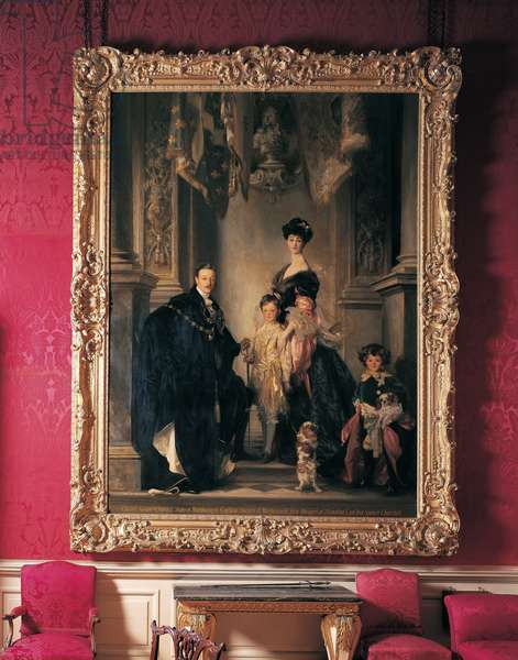 Portrait of the 9th Duke and Duchess of Marlborough and their two sons, hanging in the Red Drawing Room at Blenheim Palace (photo)