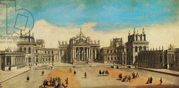 The Great Court and north front of Blenheim Palace (coloured engraving)