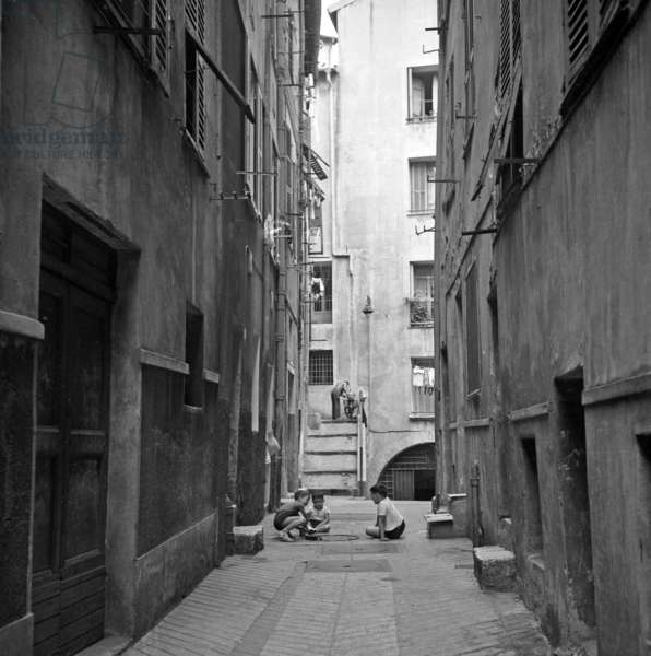 The Old City in Nice, French Riviera, 1965 (b/w photo)