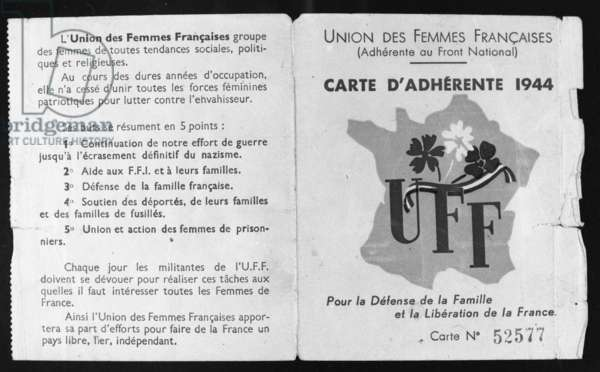 Member card of the Union of French Women 20th century (b/w photo) Card