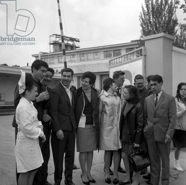 Employees of the France-Glace factory (ice cream), France, april 1967 (b/w photo)