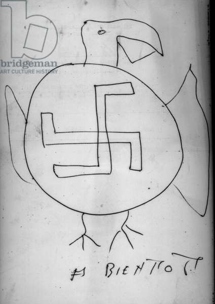 Sastika Cross and Letter of Threats Left by Fascists to the Communist Youth Local of Gentilly - January 1960 (print)