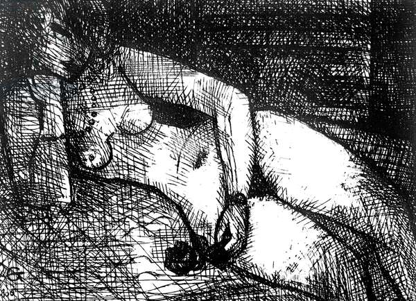 Nude with a rose (engraving)